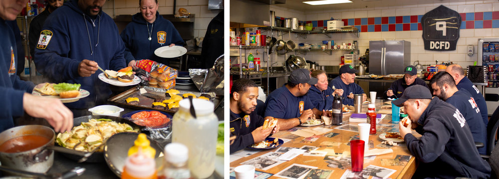 WASHINGTON D.C., April 7th, 2018-- Captain Basinger, Lt Zelonis, Tech Baldwin, Tech Warner, Probationer Arnold, FF Boddy, FF Hardesty all enjoy a meal and talk about pretty much anything except work. Its one of the few times everyone can come together during the shift and bond over food and conversation-- and serve as a much-needed break to help divide the 24 hours up into parts.  Photos by Taylor Mickal.