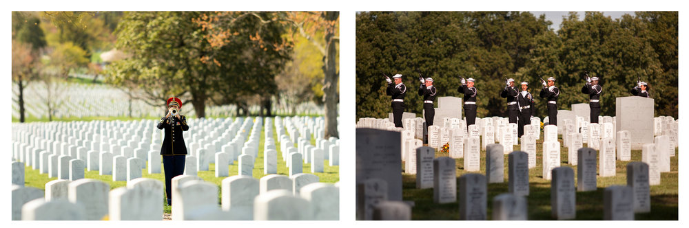WASHINGTON D.C., October 05, 2017-- (Left) A bugler plays Taps among the marbled graves. (Right) A squad of seven rifles are fired three times in quick succession. The ceremonial act originates from the European dynastic wars; the dead and wounded would be removed from the battlefield. Once done, three shots would be fired to signal that the fighting could continue.  Photo by Taylor Mickal