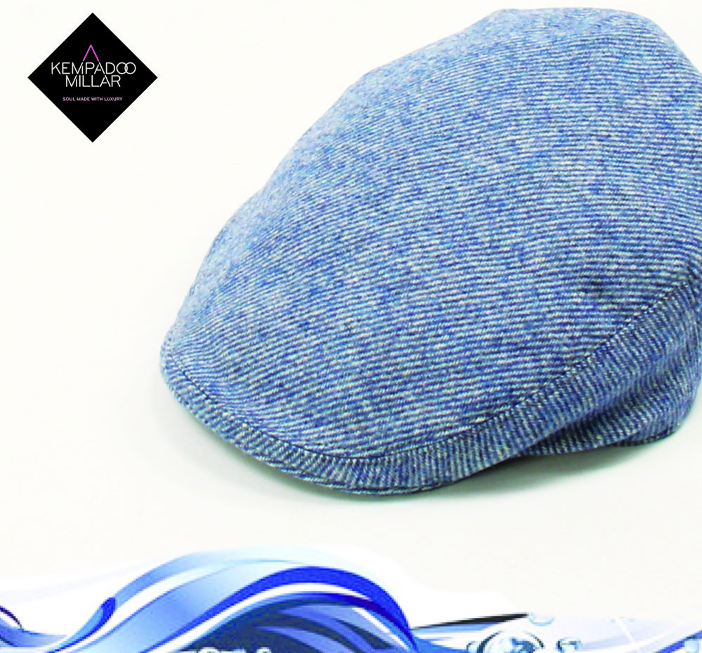 'Cascade' Baby Blue Tweed Unisex Cap