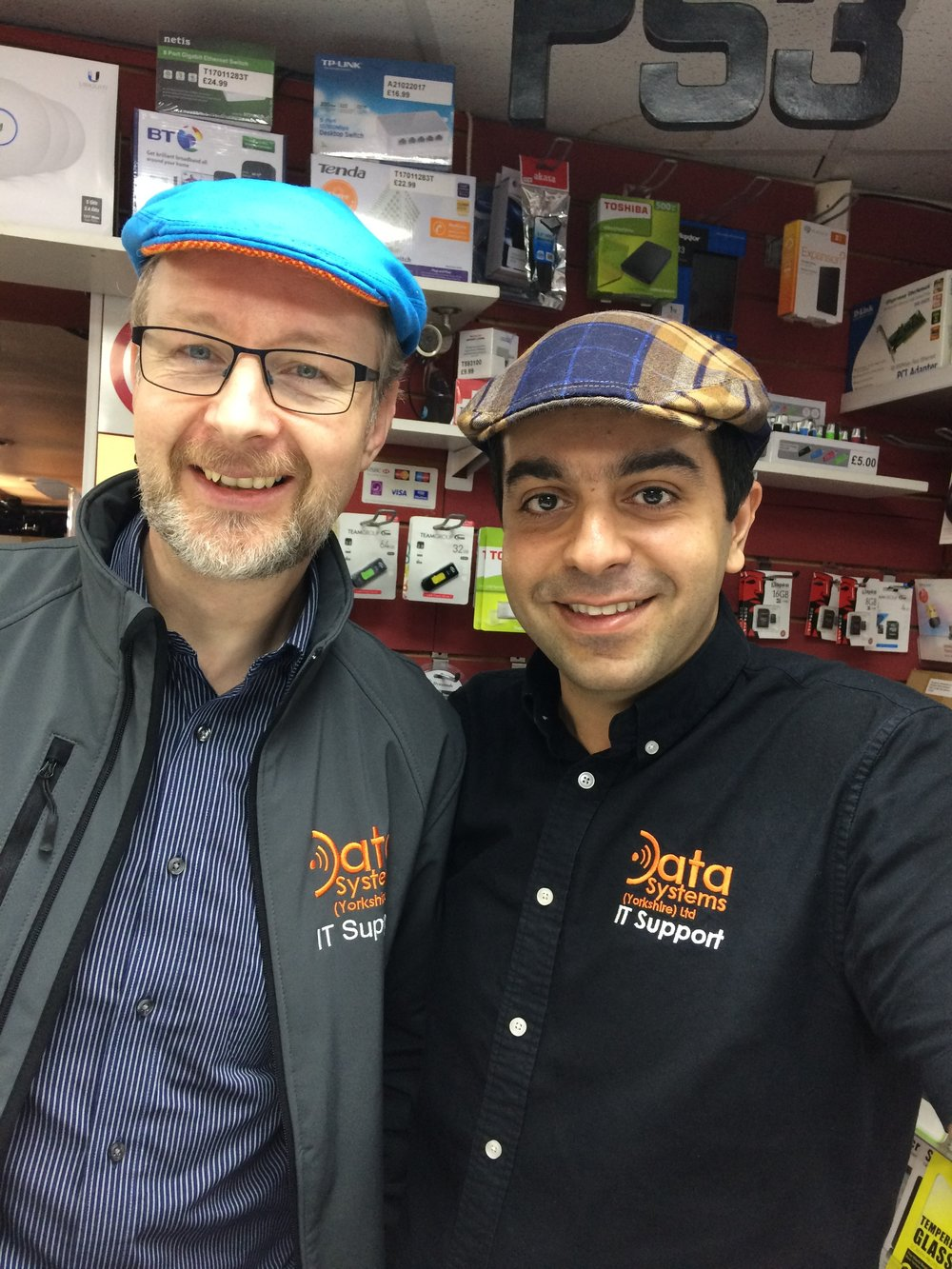 The guys from Data Systems rocking their caps for Flat Cap Friday