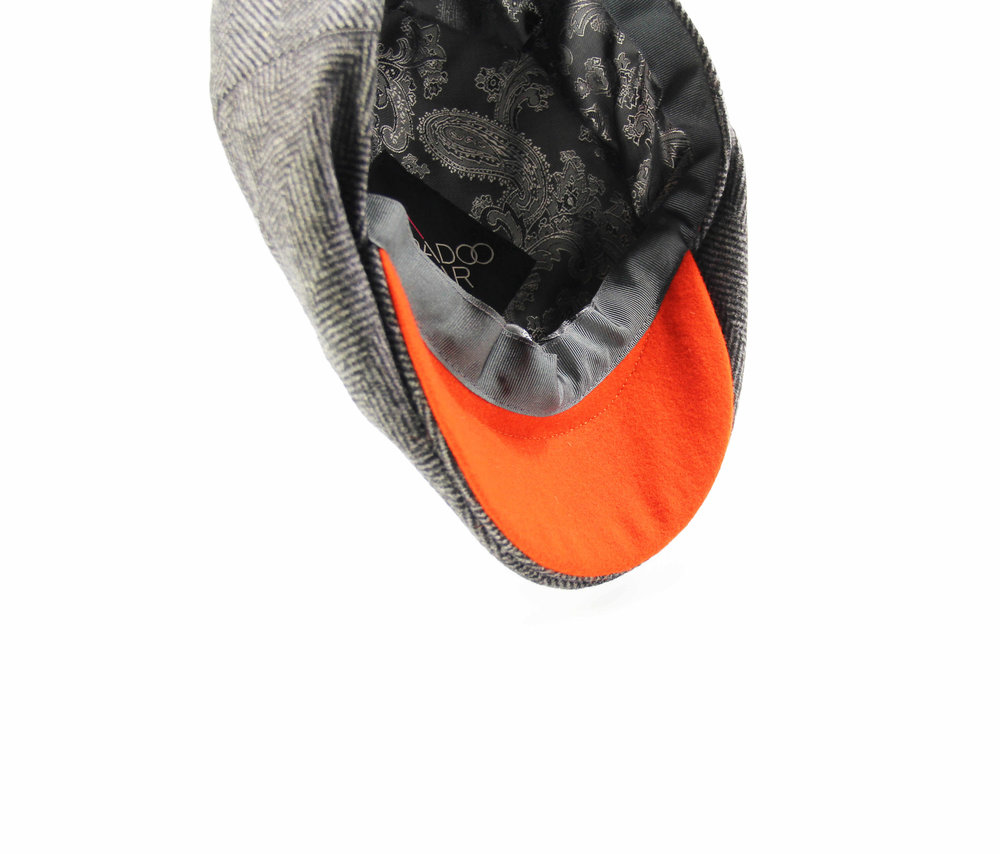 THE 'DRIFTER' GREY AND ORANGE FLAT CAP