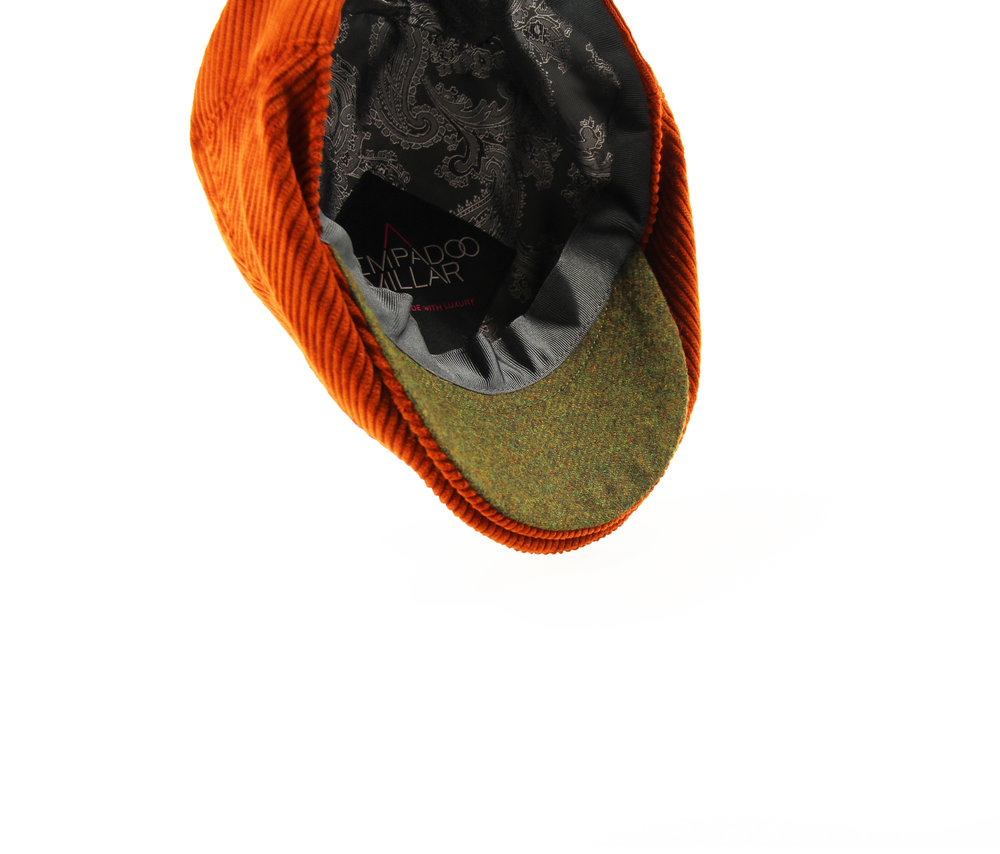 THE 'PARKIN' ORANGE CORD CAP WITH GREEN UNDER PEAK