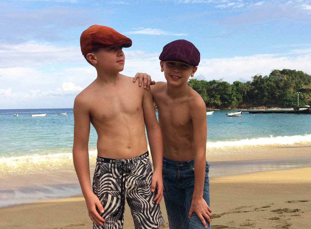 JAKE AND HARRISON MODELLING OUR PARKING AND CIRCUS CAPS IN TOBAGO