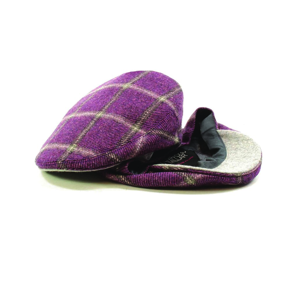 5102c99f6ed berry grey check tweed flat cap british made kempadoo millar headwear
