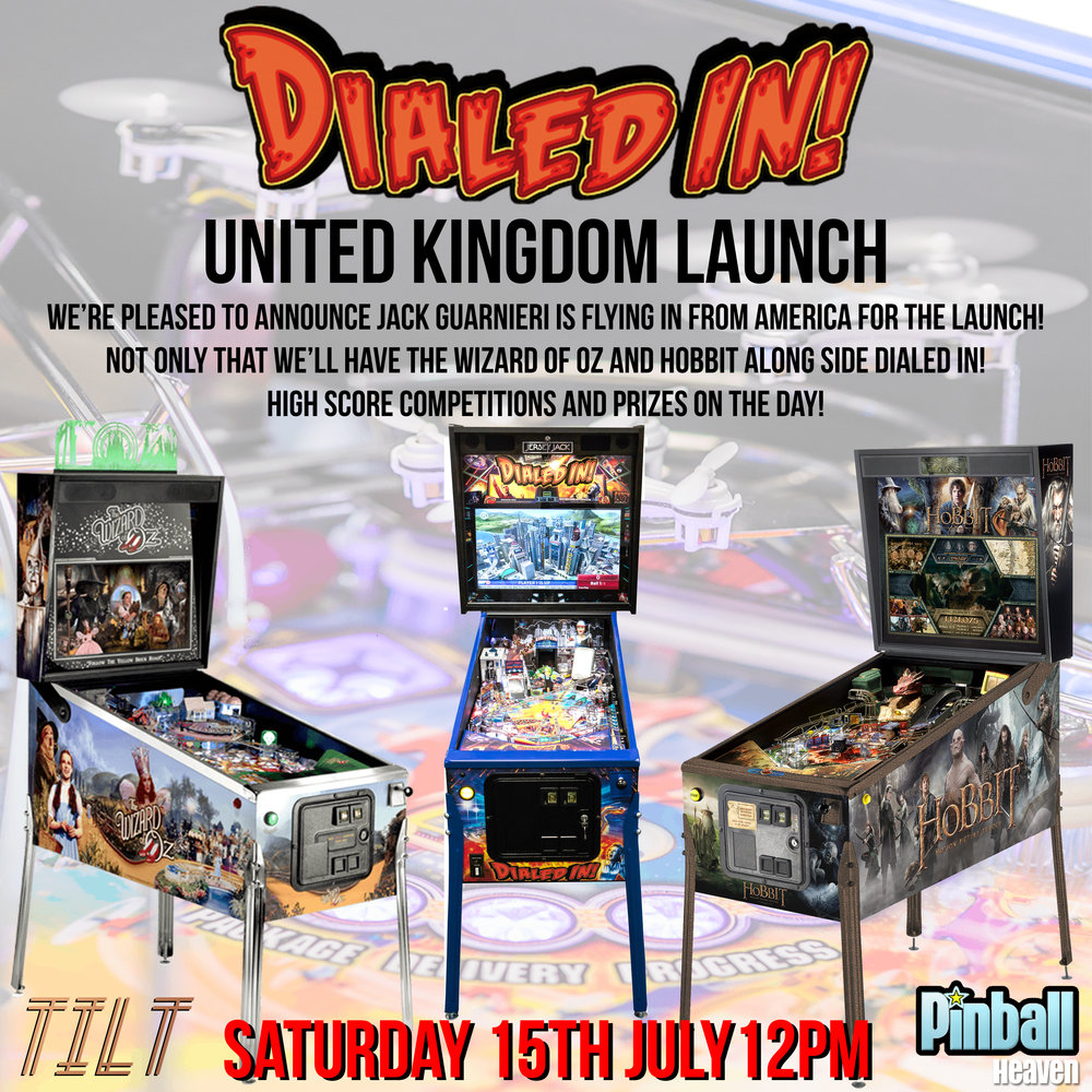 The wait is nearly over... On Saturday 15th July 12pm onwards - Jersey Jacks Dialed In will be in Tilt! Jack Guarnieri owner of Jersey Jack Pinball will be flying over from American for the event to talk everything pinball We'll also have The Wizard of Oz and The Hobbit along side Dialed In! High Score Competitions on all machines! With some cool prizes on offer!