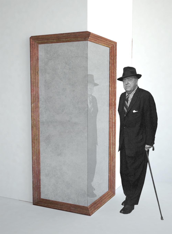 In progress: collaboration with Van den Weghe / red travertine mirror.