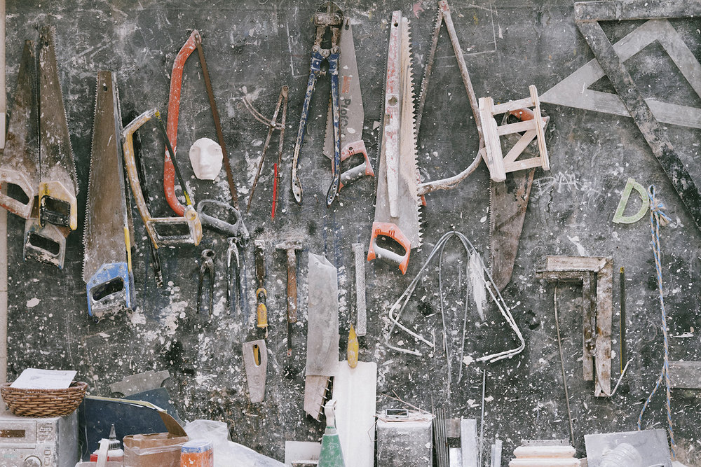 Plaster tools at the workshop.