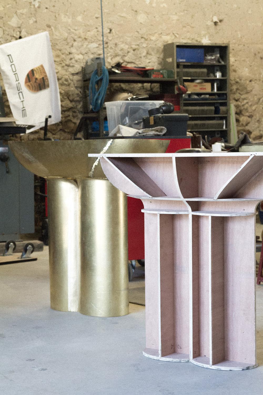 Private commission in progress: brass console.