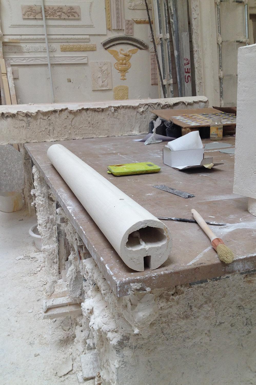 In process: Lutetia suspension in white plaster.