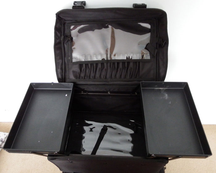 PRO MakeUp Artist Trolley Case, Nylon, 2-IN-1, Black top