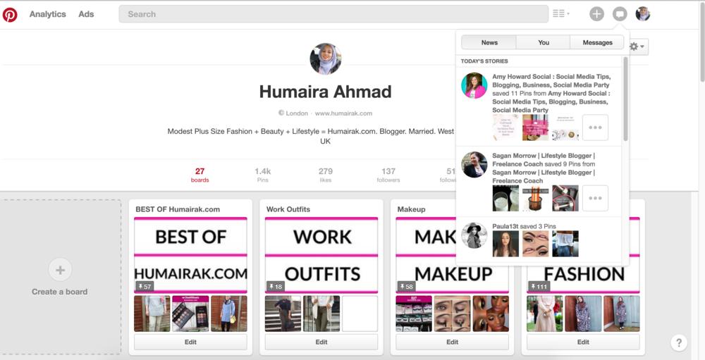 Pinterest Notifications Feed   Humairak.com