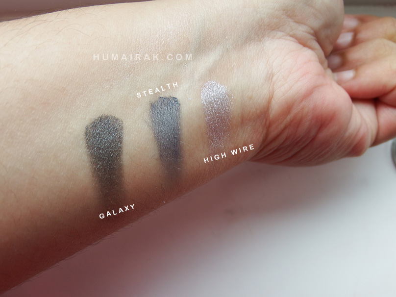 Makeup Geek High Wire, Stealth and Galaxy eyeshadow swatches