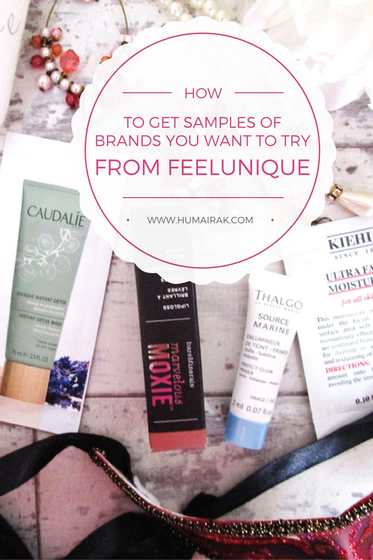 Review of the sample service from FeelUnique allowing you to try new products for £3.95 every month!   Humairak.com