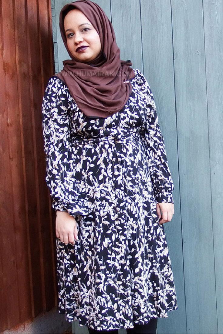 Wallis black printed wrap dress with brown hijab and dark lips | Humairak.com