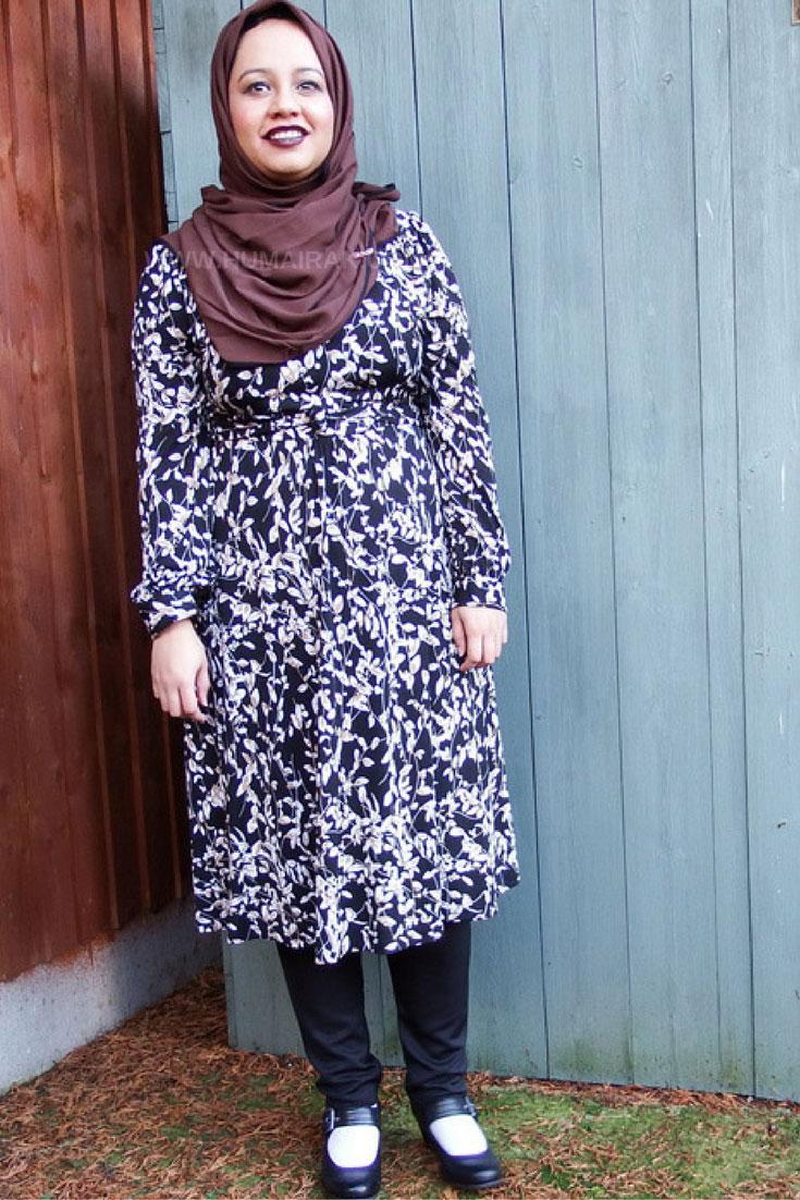 Printed Full Sleeve Dress & Dark Lips With Hijab  - Humairak.com