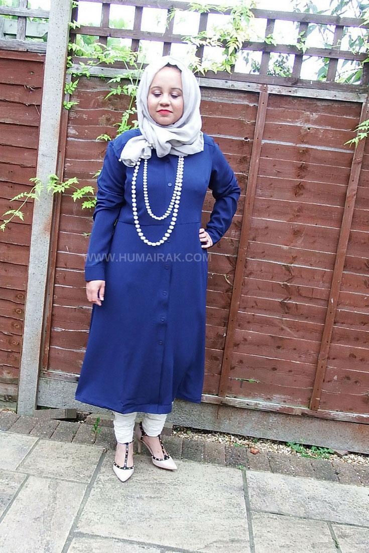 Simply Be Blue Button Down Midi Shirt Dress With Hijab   Humairak.com