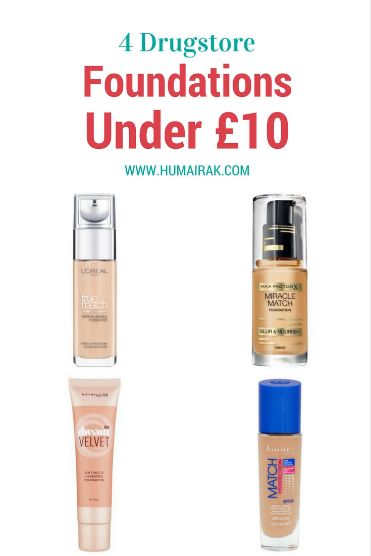 4 Drugstore Foundations Under £10 that cater to a variety of skin tones. Foundation doesn't have to break the bank, and should be inclusive. With these budget foundations under £10, you're sure to find a good match.   Humairak.com