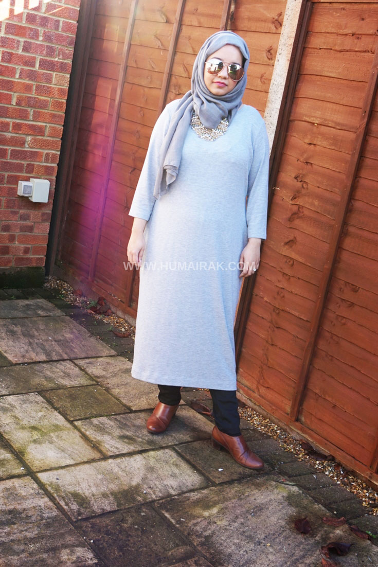 Marks and Spencer Grey Midi Dress With Hijab