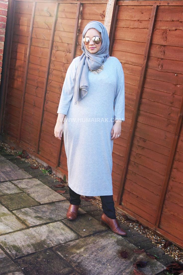 Marks and Spencer Grey Midi Dress With Hijab | Humairak.com
