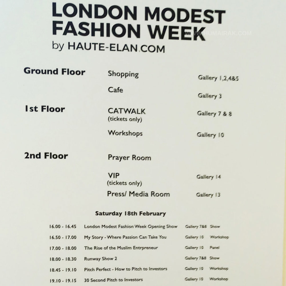Schedule at London Modest Fashion Week Saatch Gallery - Humairak.com