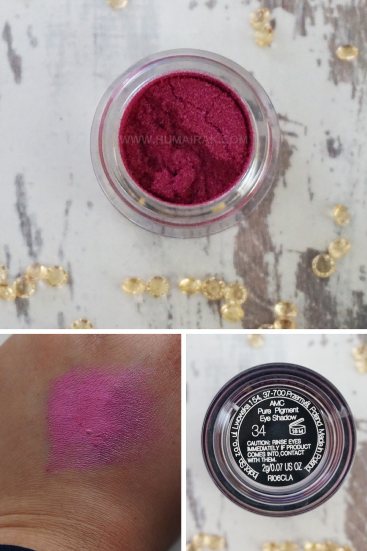 Inglot AMC Pure Pigment Eyeshadow in 34. Swatches and reviews on Humairak.com