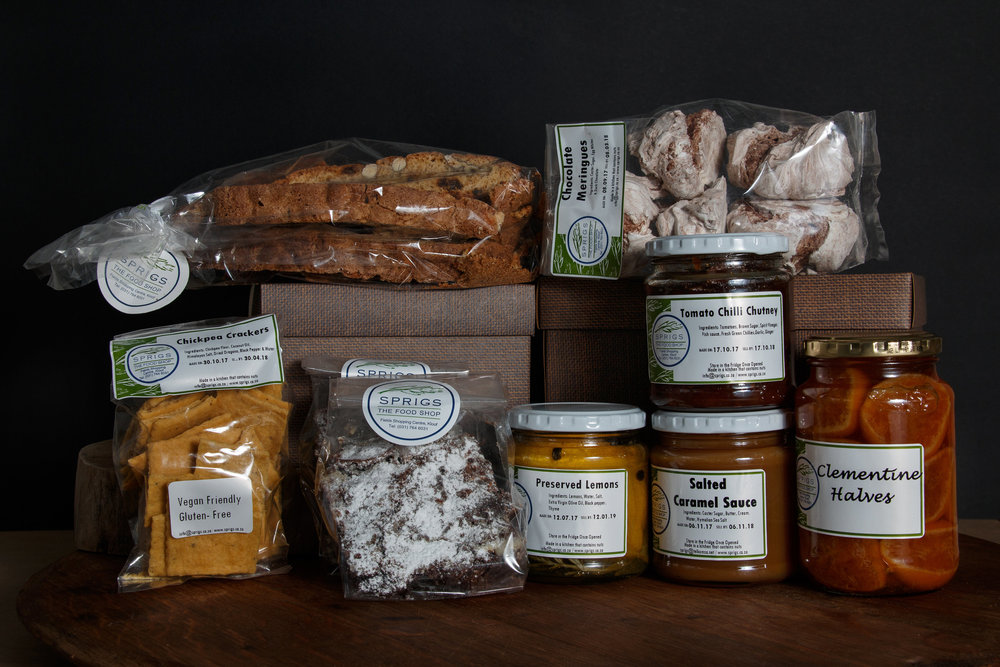 Tomato Chilli chutney, Fruit and nut biscotti, 2 brownies, preserved lemons, salted caramel sauce, chickpea crackers, Clementine Preserve and Chocolate Meringues. R505