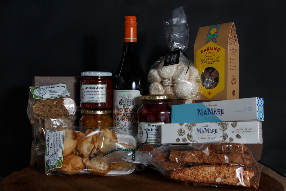 Orange Twirls, Mince Pies, Christmas Chutney, Swedish Crackers, 100g Mamere Nougat, 450g Olives, Two Dogs a peacock and a horse wine, Darling Toffee Box, Christmas Biscotti, Treats Coconut Marshmallows, Mamere 100g festive nougat. R845