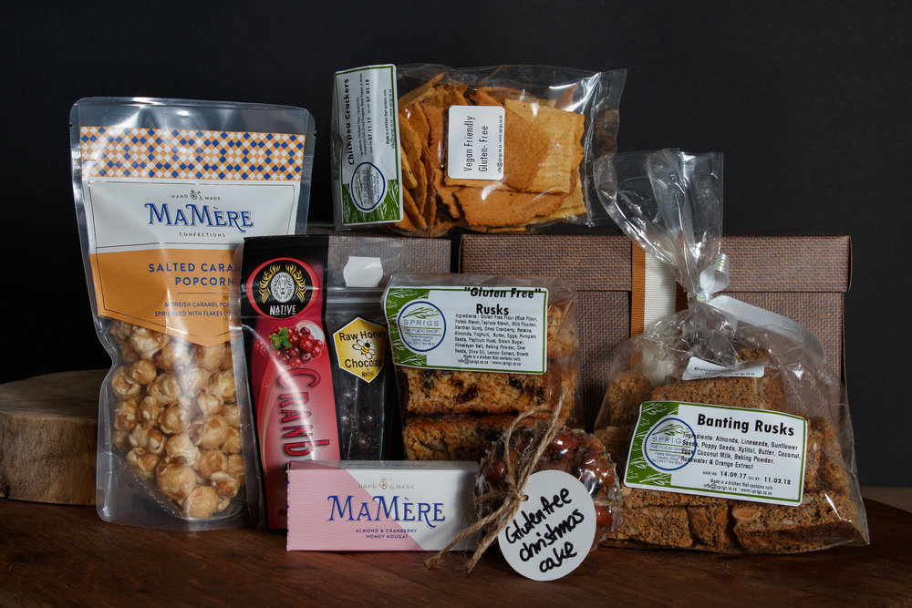 Gluten free Christmas Cake, Chickpea Crackers, 50g Mamere Nougat bar, Native Cranberries, Gluten free rusks, Banting Rusks and Mamere Salted Caramel Popcorn. R445