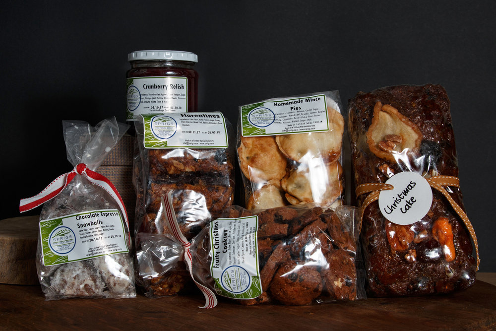 Florentines, Mince Pies, Cranberry Relish, Christmas cookies, Chocolate Snowball cookies and 1 x 800g Christmas cake loaf. R580