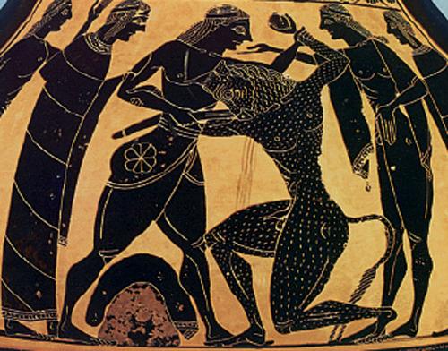 Theseus killing the notorious Minotaur