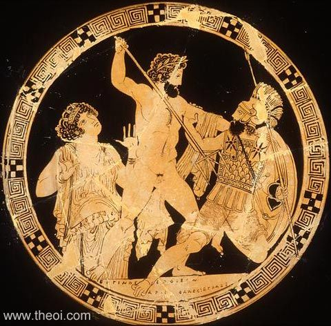 Gaia rising from the earth, Athenian red-figure kylix C5th B.C., Antikenmuseen, Berlin