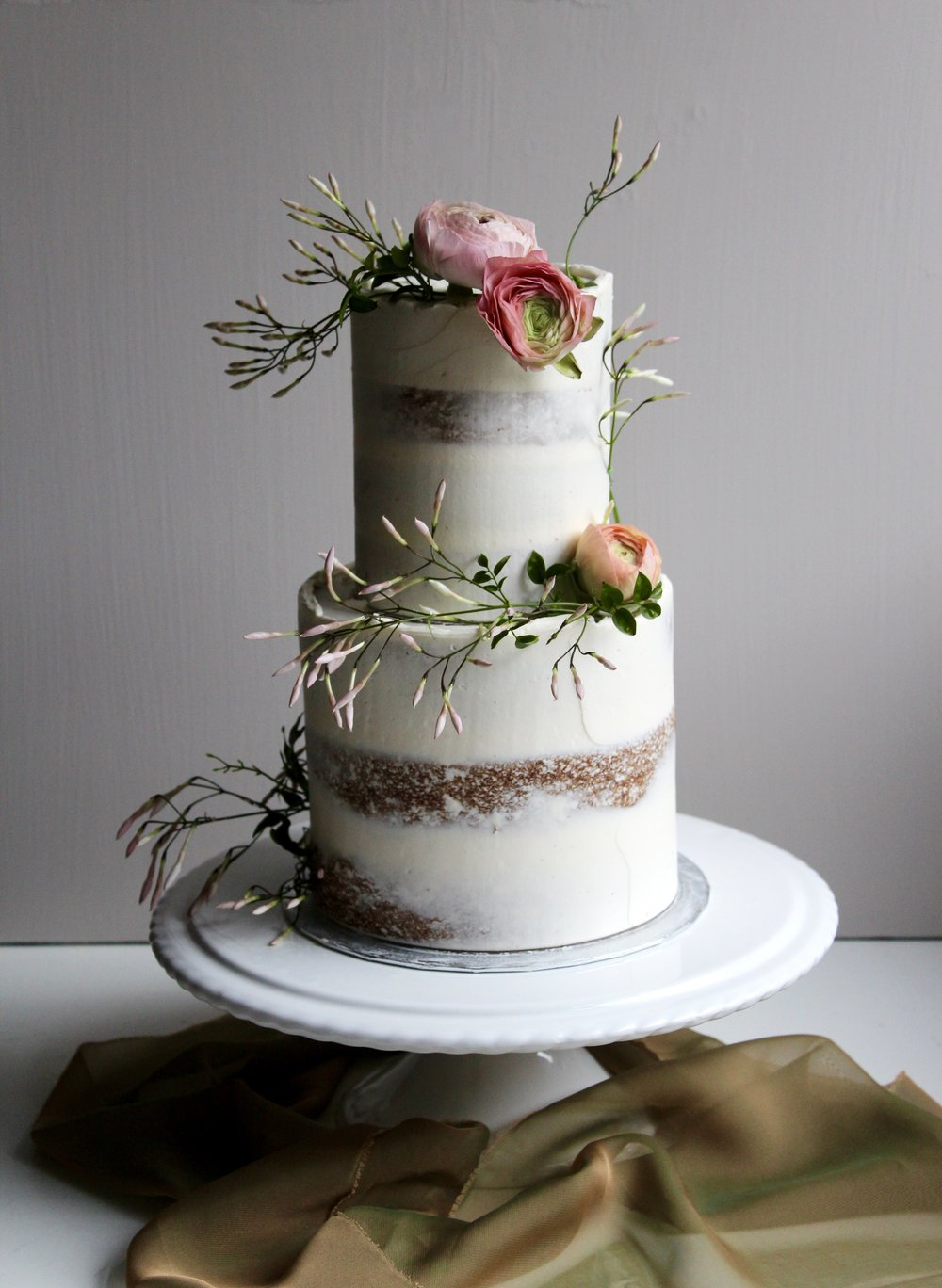Minimalist, Simple Semi-Naked Wedding Cake by Yolk www.cakesbyyolk.com