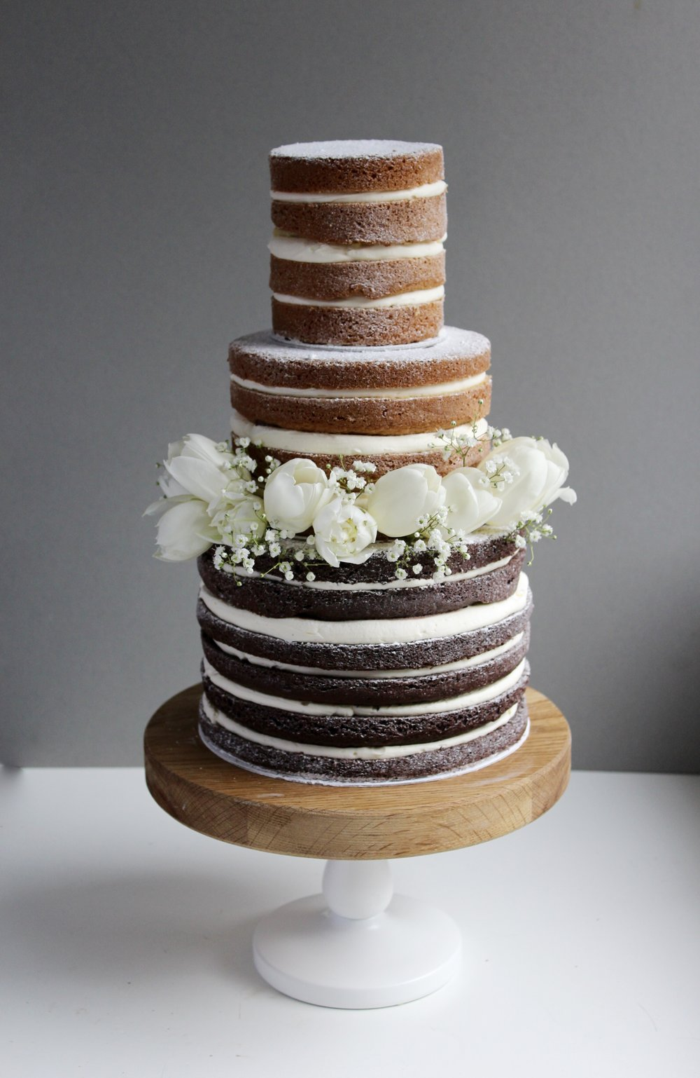 Simplistic, Minimalist Naked Wedding Cake by Yolk www.cakesbyyolk.com