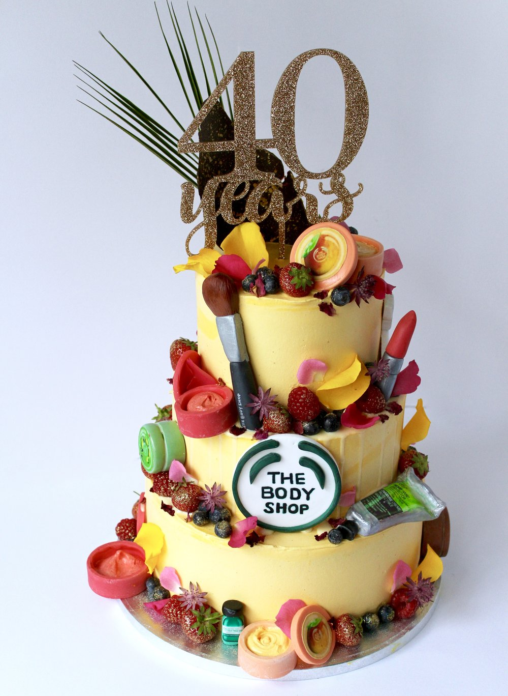 40th Birthday cake for The Body Shop by Yolk. www.cakesbyyolk.com