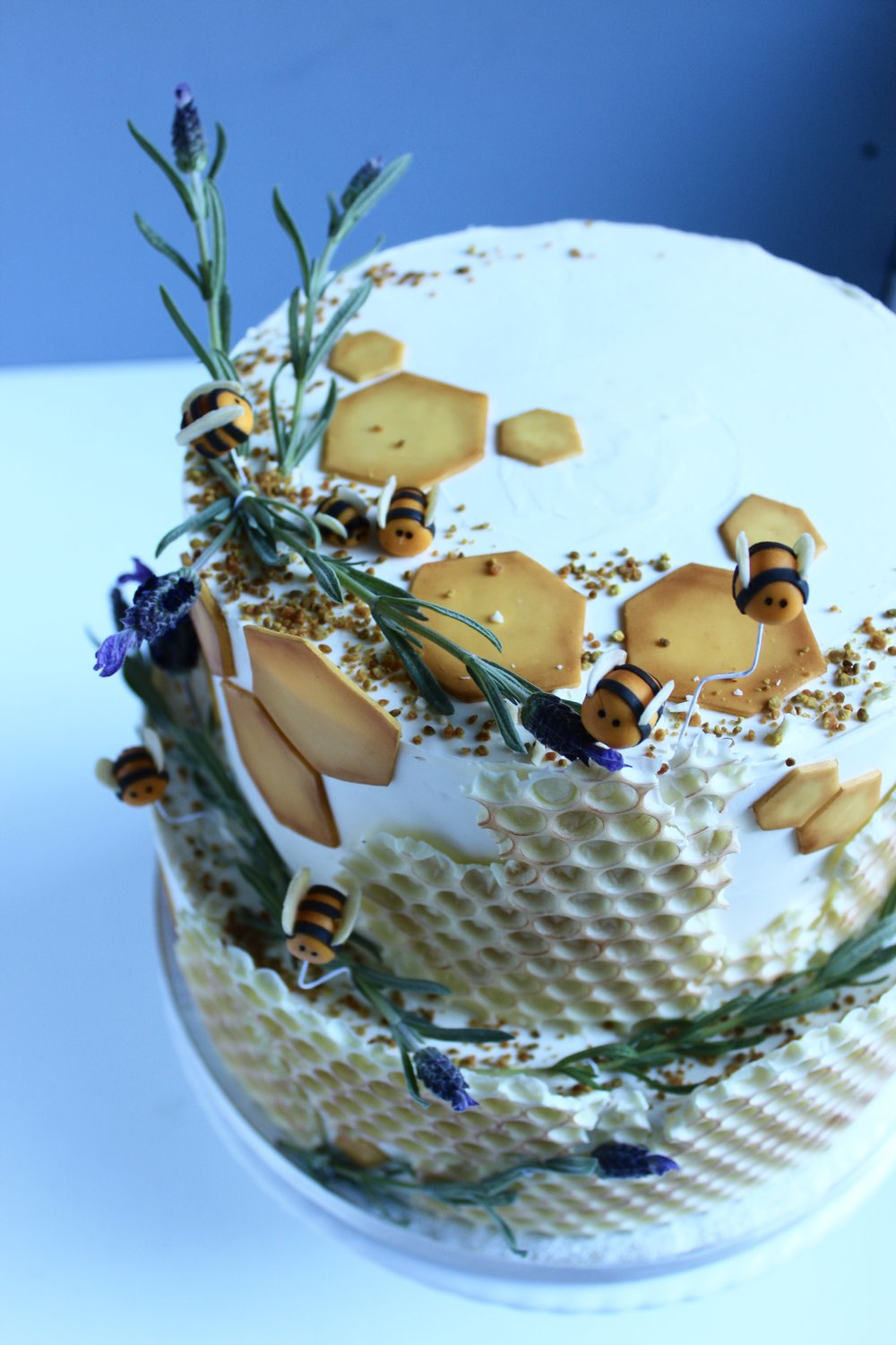 Lemon and thyme bottom tier, lavender and honey top tier.