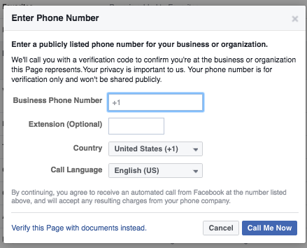 IF YOU HAVE A BUSINESS PHONE NUMBER, GREAT, YOU CAN USE IT. IF NOT, HIT  'VERIFY THIS PAGE WiTH DOCUMENTS INstead' AND JUST UPLOAD YOUR 501c3 REGISTRATION