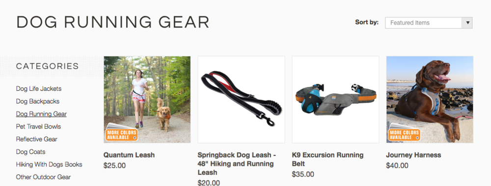 Kurgo doesn't seem to leave a dog-treat un-turned for the active pet parent - they have an entire section just on dog running gear!!!