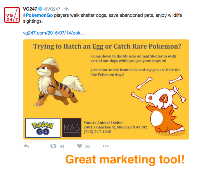 We LOVE how the Muncie Animal Shelter in Indiana leveraged the recent craze around PokemonGo to get people out walking dogs. talk about great timing!