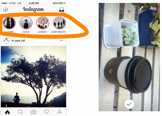 IG Stories show up as circles at the top of your Instagram feed, setting them nicely apart from the more traditional posts that ig is know for
