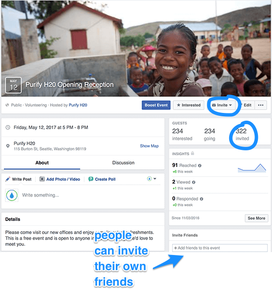 The good thing about creating an event on FB versus say using Eventbrite or Paperless Post is that it's much easier for people to invite OTHERS to the vent. In this way the event attendance can grow almost exponetially
