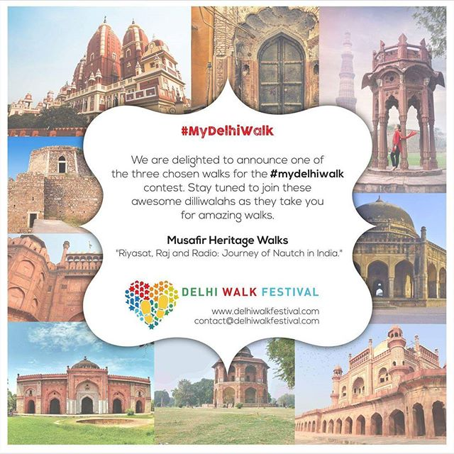 """Happy to announce the last #MyDelhiWalk winner - """"Riyasat, Raj and Radio: Journey of Nautch in India"""". Lead by Soumya Sahai of a student led history collective - Musafir Heritage Walks.  Join Sahai in the #DelhiWalkFestival, to explore the promenade In Chawri Bazaar which housed the kothis of the various tawaifs. Using photographs, tales and songs discover the times associated with the traditions of Nautch, of how the courtisans interacted & dealt with men in power - Mughals as well as the British. Learn about their fall from grace and then their forays with the arrival of Radio. . . . #delhiwalkfestival #dwf3 #socialoffline #DelhibyMetro #alpaviram #storiesofindia #photooftheday #inspiroindia #justdelhiing #india_gram #indianphotography #_soidelhi #_soi #dfordelhi #vscoindia #justdelhiing #everydayindia #natgeotravelindia #socalitynewdelhi #socalitydelhi #delhiinstameet #lonelyplanetindia #incredibleindia #lonelyplanet #ifoundawesome #ig_delhi #401reasons #socialoffline"""