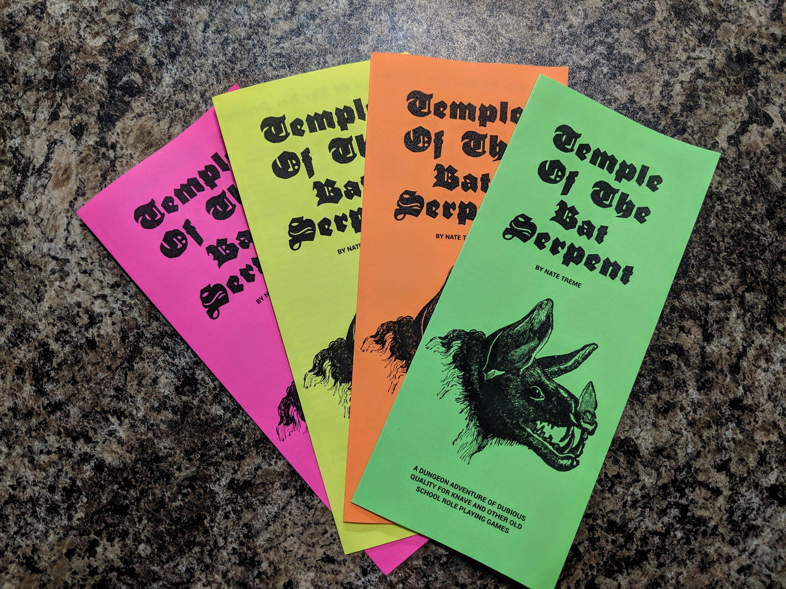 color paper bat pamphlets