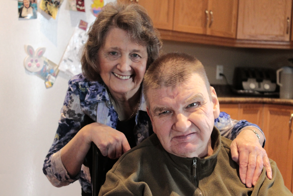 Treasurer Linda Paluck with her beloved brother Terry at his home.