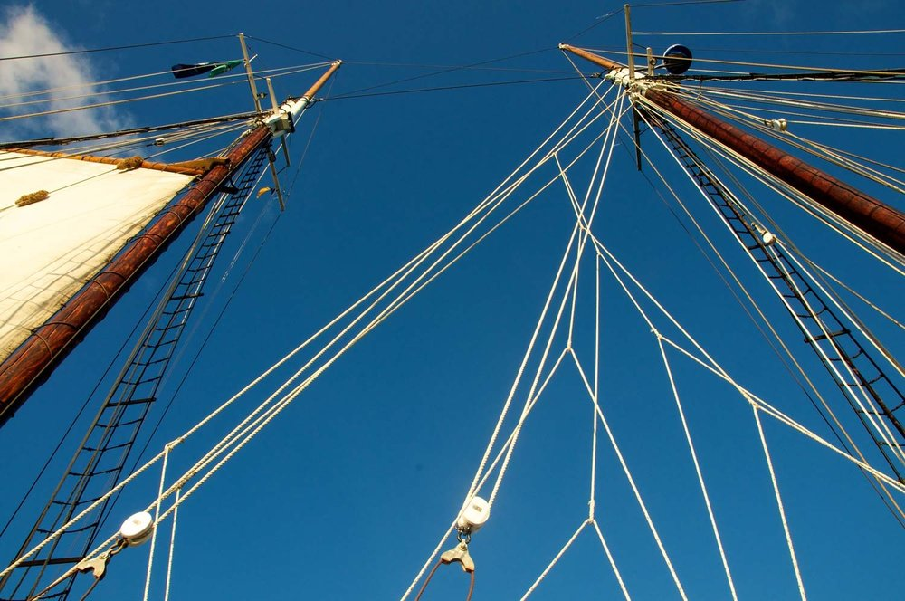 SAILS / RIGGING    We have a full suit of sails and we've made all of the booms and gaffs. In order to get Apollonia sailing, we still need two masts, all the standing rigging (the wires that hold them up, complete with turnbuckles and baggywrinkles) and all the running rigging (the lines that run our sails and all the blocks that let the magic work).