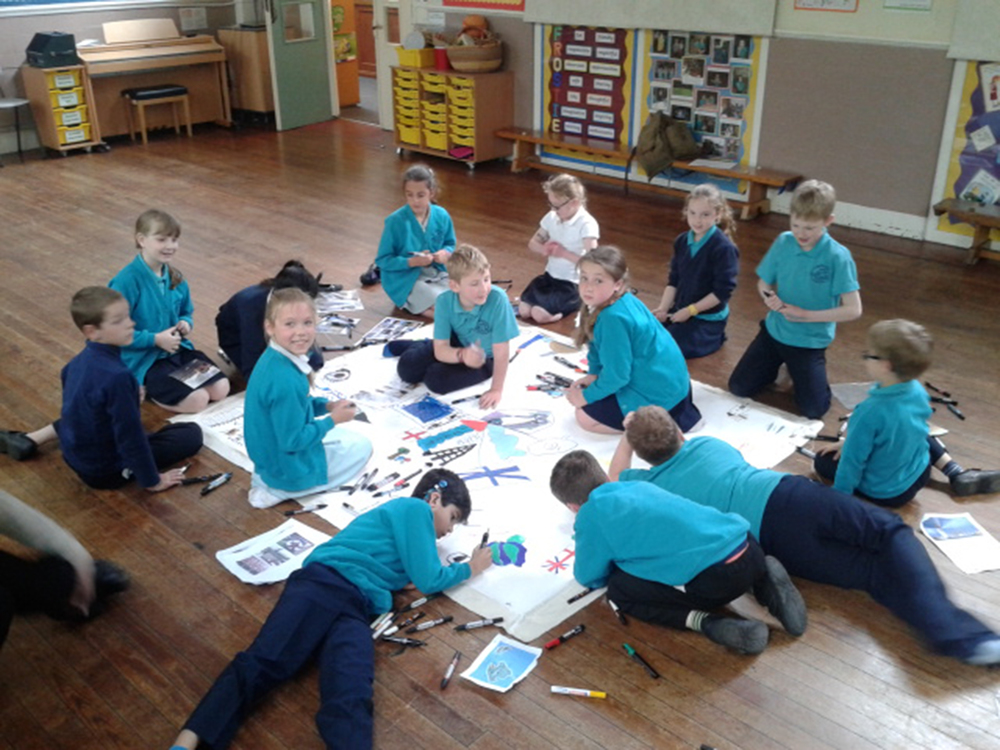 Friezland Primary School pupils working on My Europe project, Manchester, 2014.jpg