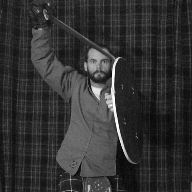 Chris Dyer  is a certified instructor from the Cateran Society and specializes in the Scottish Highland Broadsword. He teaches classes in single stick. Chris is a certified personal trainer.