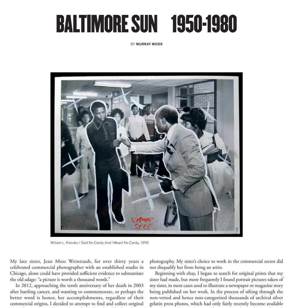 Article in the Summer issue of OSMOS about Murray's collection of vintage press photos from the Baltimore Sun