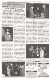 """""""Draugas"""" about MVSC 2007 Annual Banquet - presenter Dr. Giedrius Subacius."""