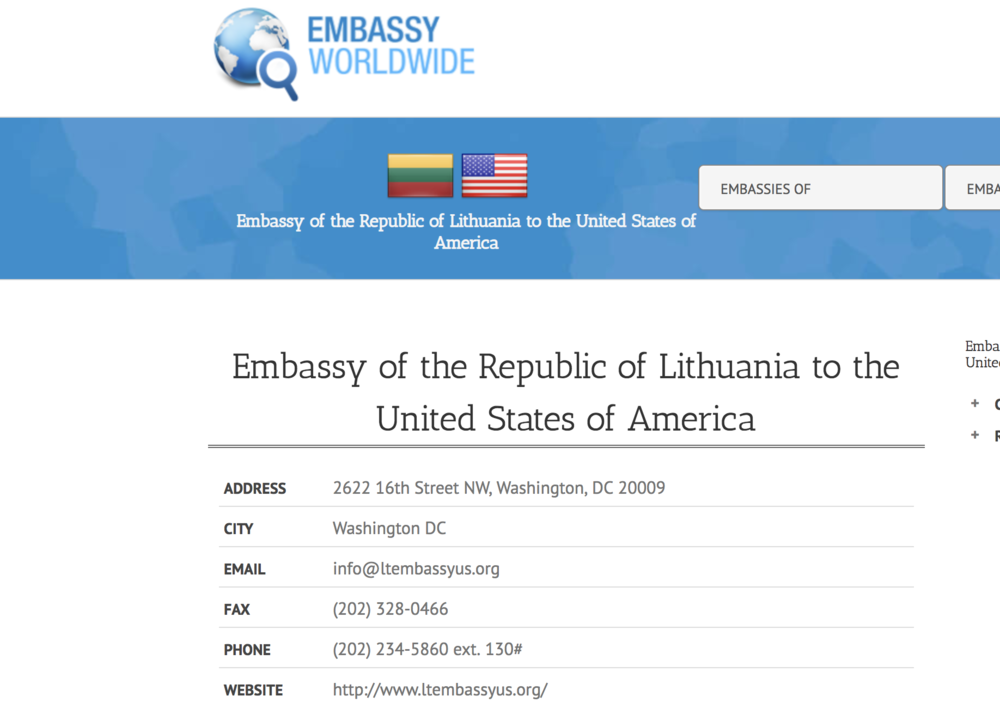 Embassy of the Republic of Lithuania to the USA
