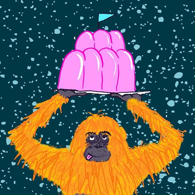 Doodling some brain hurting weirdness... 🙈. How to make photoshop look like MS Paint. ---------------------------------- #jelly #orangutang #drawing #doodle #scribble #paint #sketch #sketching #messingabout #kidlitart #weird #monkey #whoknows #ink #fail #childrensbookillustration #blah #wobble #wibblewobble #hairy #inking #wip #testing #pudding #mishmash #yikes #madness